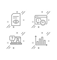 Project deadline view document and faq icons set vector