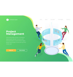 project management isometric business data vector image