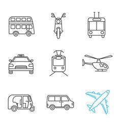 Public transport linear icons set vector