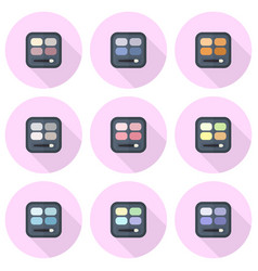 Rectangular eyeshadow palettes flat icon set vector