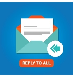 reply to all email icon flat arrow back vector image
