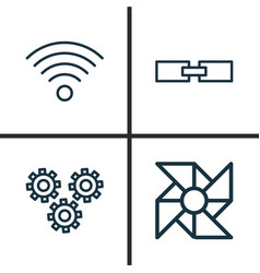 Robotics icons set collection of laptop vector