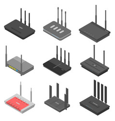 Router icons set isometric style vector