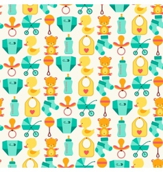 Seamless pattern with newborn baby icons vector
