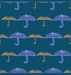 Seamless pattern with umbrellas in rows vector