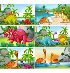 Set dinosaur scenes vector