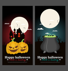 Set of halloween night backgrounds vector