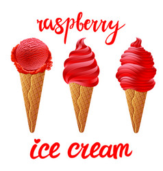 set of red ice cream with of different shapes in vector image