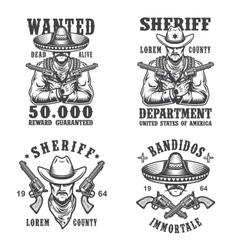 set sheriff and bandit emblems vector image