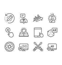 Set technology icons such as seo adblock sun vector