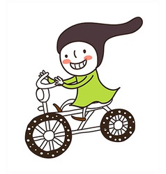 Side view of girl riding bicycle vector