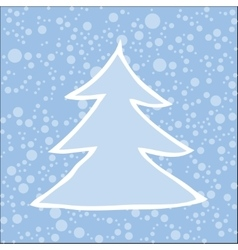 Silhouette of Christmas tree with falling snow vector
