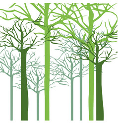 Silhouette with trees without leafs close up vector