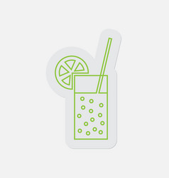 Simple green icon-carbonated drink straw citrus vector