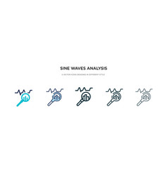 sine waves analysis icon in different style two vector image