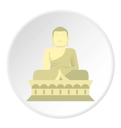 Sitting Buddha icon flat style vector image