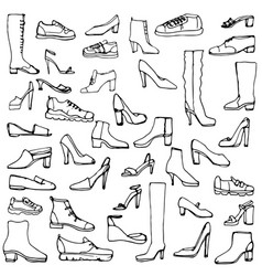 Sketch of shoes and boots vector