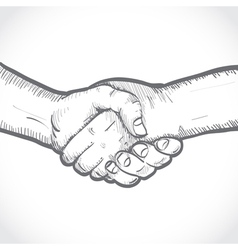 Sketch two shaking hands vector