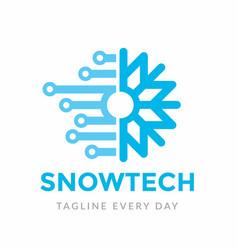 Snowflake connect logo design template vector