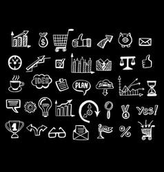 social media business doodles black background vector image