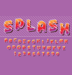 splash lines colorful font design letters and vector image