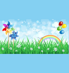 Spring background with pinwheels and rainbow vector