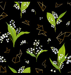 Spring floral seamless pattern with lily flowers vector