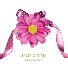 spring pink flower card background beautiful vector image