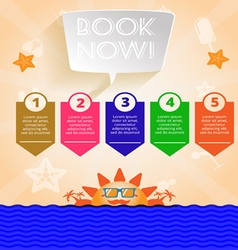 Summer time orange infographic with book now text vector