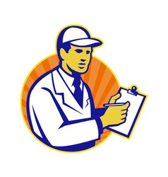 Technician Inspector Worker Clipboard Retro vector