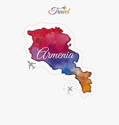 Travel around the world Armenia Watercolor map vector