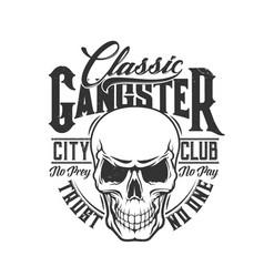 tshirt print skull mascot for city club vector image