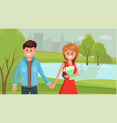two young people on date in park vector image