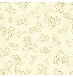 Vintage Beige Berries Nuts Drawing Seamless vector image