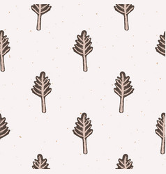 Winter rustic fir tree lino cut texture seamless vector