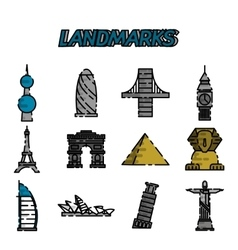World landmarks flat icons set vector image
