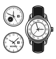 Wristwatch and two clock face objects vector