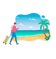 Young man with smartphone walking to beach vector
