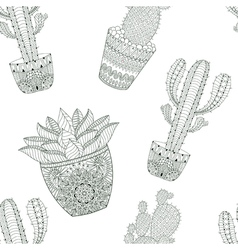 Zentangle mexican Cactus seamless pattern Hand vector