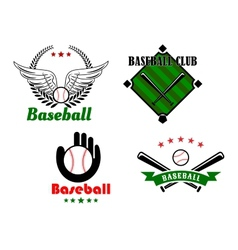 Baseball emblems and badges for sporting design vector image vector image