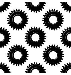 Black seamless gears or cogwheels pattern vector image vector image