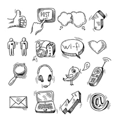 Doodle social icons set vector image vector image