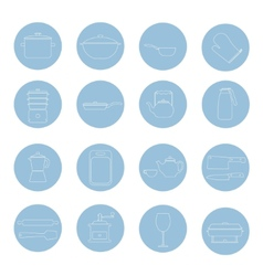 Kitchen tools and utencils icons outlined thin vector image