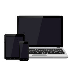 laptop smartphone and tablet with blank screen vector image