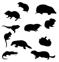 beavers silhouettes vector image vector image