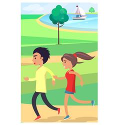boy and girl jog at park along path near pond vector image vector image