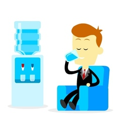 Businessman Drinking A Glass of Water vector image