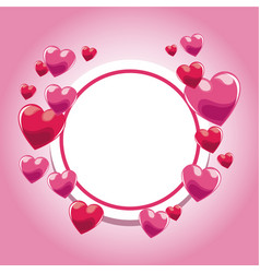 card invitation pink hearts template vector image vector image