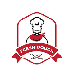 chef with roll pin fresh dough logo vector image