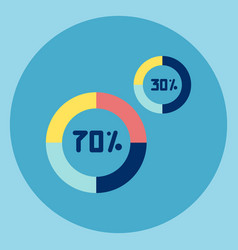 pie diagram with percent number icon vector image vector image